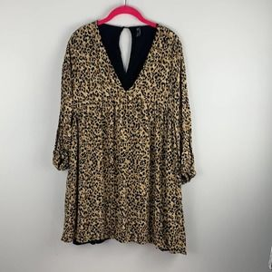 TRF Collection 3/4 Sleeve Flare Casual Mini Dress Cheetah Large